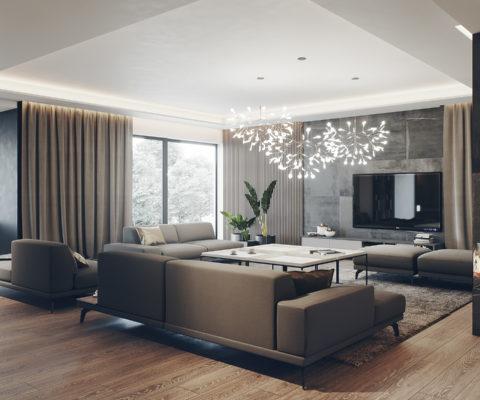 projekt salonu w nowoczesnym stylu