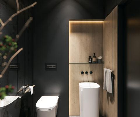łazienka w nowoczesnym stylu z betonem