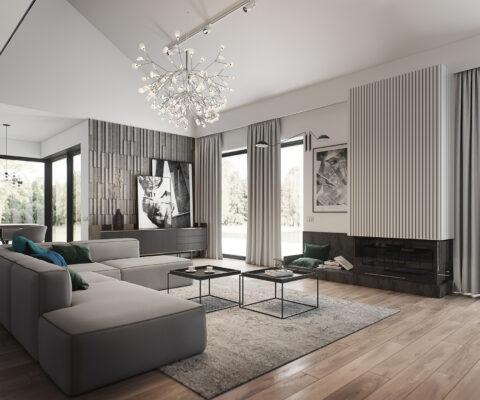 nowoczesny salon w domu jednorodzinnym